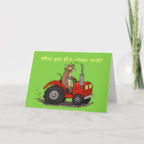 Cute happy cow driving tractor cartoon birthday card