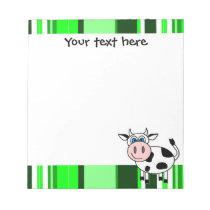Cute Happy Cow Notepade - Green Stripe Notepad