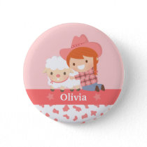 Cute Happy Cowgirl with Lamb For Girls Button