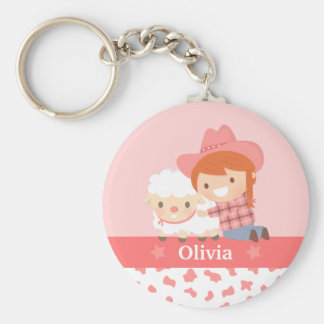Cute Happy Cowgirl with Lamb For Girls Basic Round Button Keychain