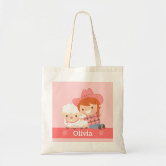 Cute Happy Cowgirl with Lamb For Girls Tote Bag