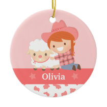 Cute Happy Cowgirl with Lamb Girls Personalized Ceramic Ornament