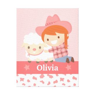 Cute Happy Cowgirl with Lamb Girls Room Decor