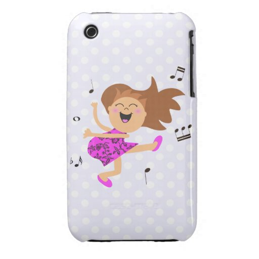 Cute Happy Dancing Girl in pink dress iPhone 3 Cases