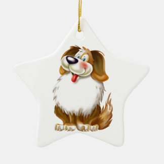 Cute happy dog ceramic ornament
