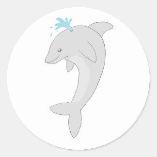 Cute Happy Dolphin Classic Round Sticker