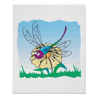 cute happy dragonfly on flower poster