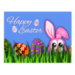 Cute Happy Easter Bunny and Eggs in Grass Postcard Postcards