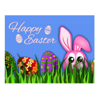 Cute Happy Easter Bunny and Eggs in Grass Postcard