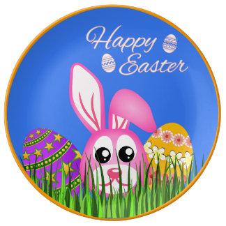 "Cute Happy Easter Bunny Eggs 10.75"" Ceramic Plates"