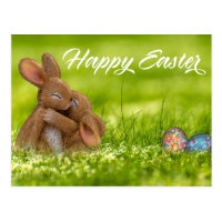 Cute Happy Easter Bunny Eggs Spring Postcard