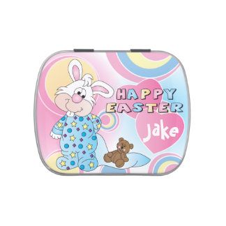 Cute Happy Easter Bunny Rabbit Candy Tin