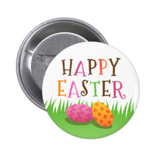Cute Happy Easter button with colorful eggs