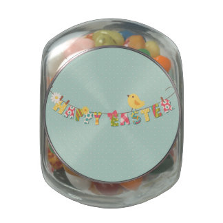 Cute Happy Easter Card Glass Candy Jars