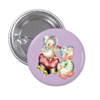 Cute Happy Easter Chicks Button
