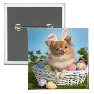Cute Happy Easter Day Puppy Pinback Button