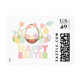 Cute Happy Easter Eggs and Bunny Postage Stamp