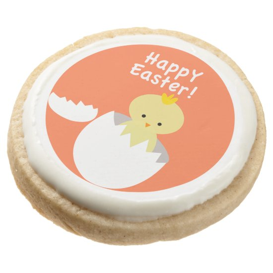 "Cute ""Happy Easter"" Hatching Chick Round Shortbread Cookie"