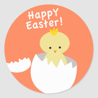 Cute Happy Easter Hatching Chick Classic Round Sticker