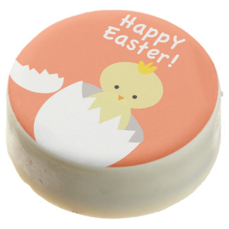 "Cute ""Happy Easter"" Hatching Chick Chocolate Dipped Oreo"