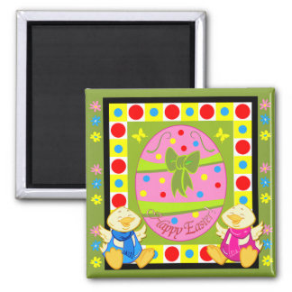 Cute Happy Easter magnet with egg and chickens