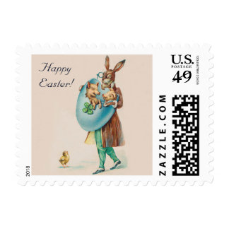 Cute Happy Easter Stamp - Rabbit and Piglets