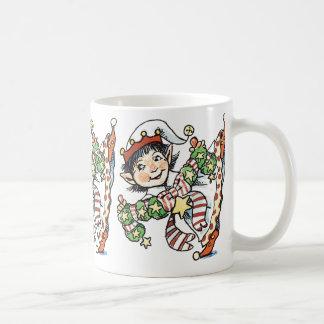 Cute Happy Elf Dancing, Retro Christmas Cartoon Classic White Coffee Mug