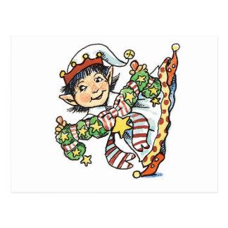 Cute Happy Elf Dancing, Retro Christmas Cartoon Postcard