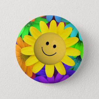 Cute Happy Face Flowers Pinback Button