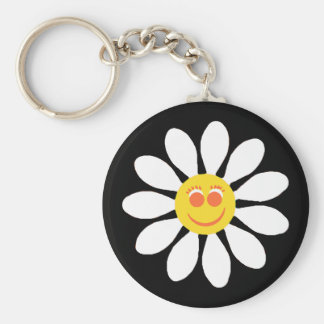 Cute Happy Face Girly White Daisy Flower on Black Keychain