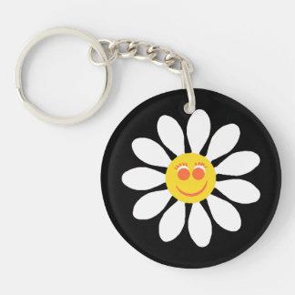 Cute Happy Face Girly White Daisy Flower on Black Keychain