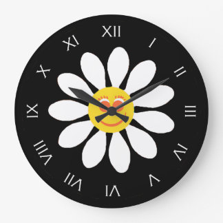 Cute Happy Face Girly White Daisy Flower on Black Large Clock