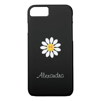 Cute Happy Face Girly White Daisy Flower With Name iPhone 8/7 Case