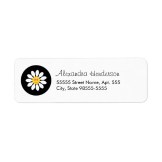 Cute Happy Face Girly White Daisy Flower With Name Return Address Labels