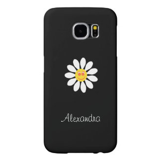 Cute Happy Face Girly White Daisy Flower With Name Samsung Galaxy S6 Case