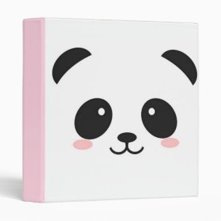 Cute Happy Face Panda 3 Ring Binder