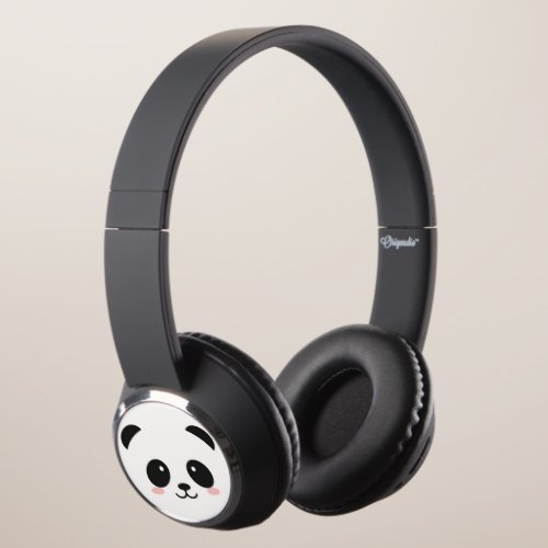 Cute Happy Face Panda Headphones