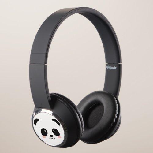 Cute Happy Face Panda Headphones