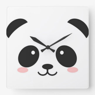 Cute Happy Face Panda Square Wall Clock
