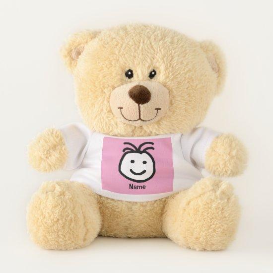 Cute Happy Face Pink Teddy Bear