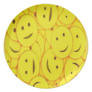 Cute happy faces collage melamine plate