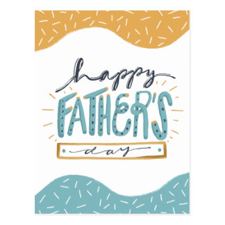 Cute Happy Father's Day doodle typography Postcard