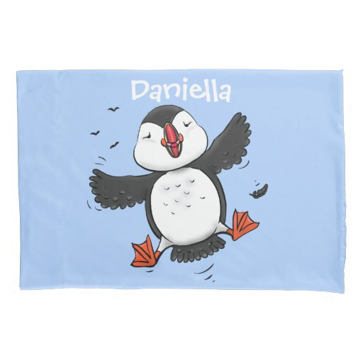 Cute happy flying puffin blue cartoon illustration pillow case