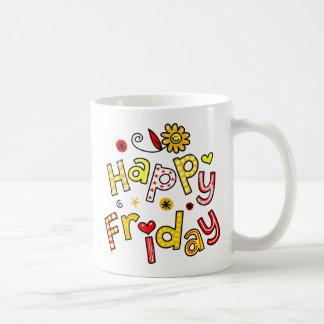 Cute Happy Friday Week Greeting Text Expression Coffee Mug