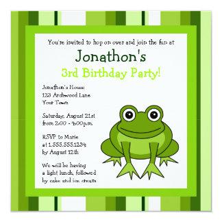 Cute Happy Frog w/ Stripes Birthday Invite