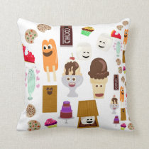 Cute Happy Fun Dessert Cartoon Pattern Throw Pillow