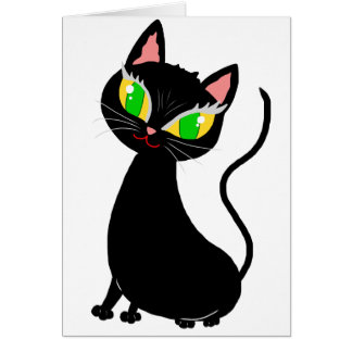 Cute happy go lucky cat cartoon - black cat gifts greeting card