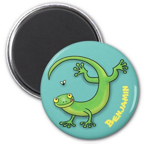 Cute happy green gecko greetings with bug cartoon magnet