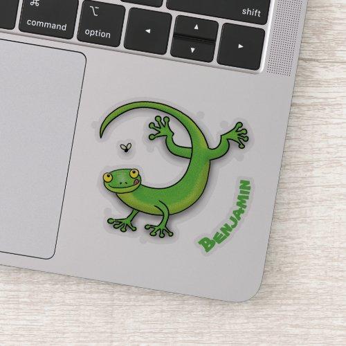 Cute happy green gecko greetings with bug cartoon sticker