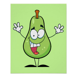 cute happy green pear cartoon character poster
